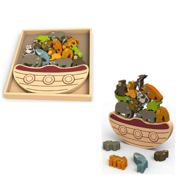 Begin Again Colourful Wooden Balance Boat with Endangered Animals Game 3+ Years